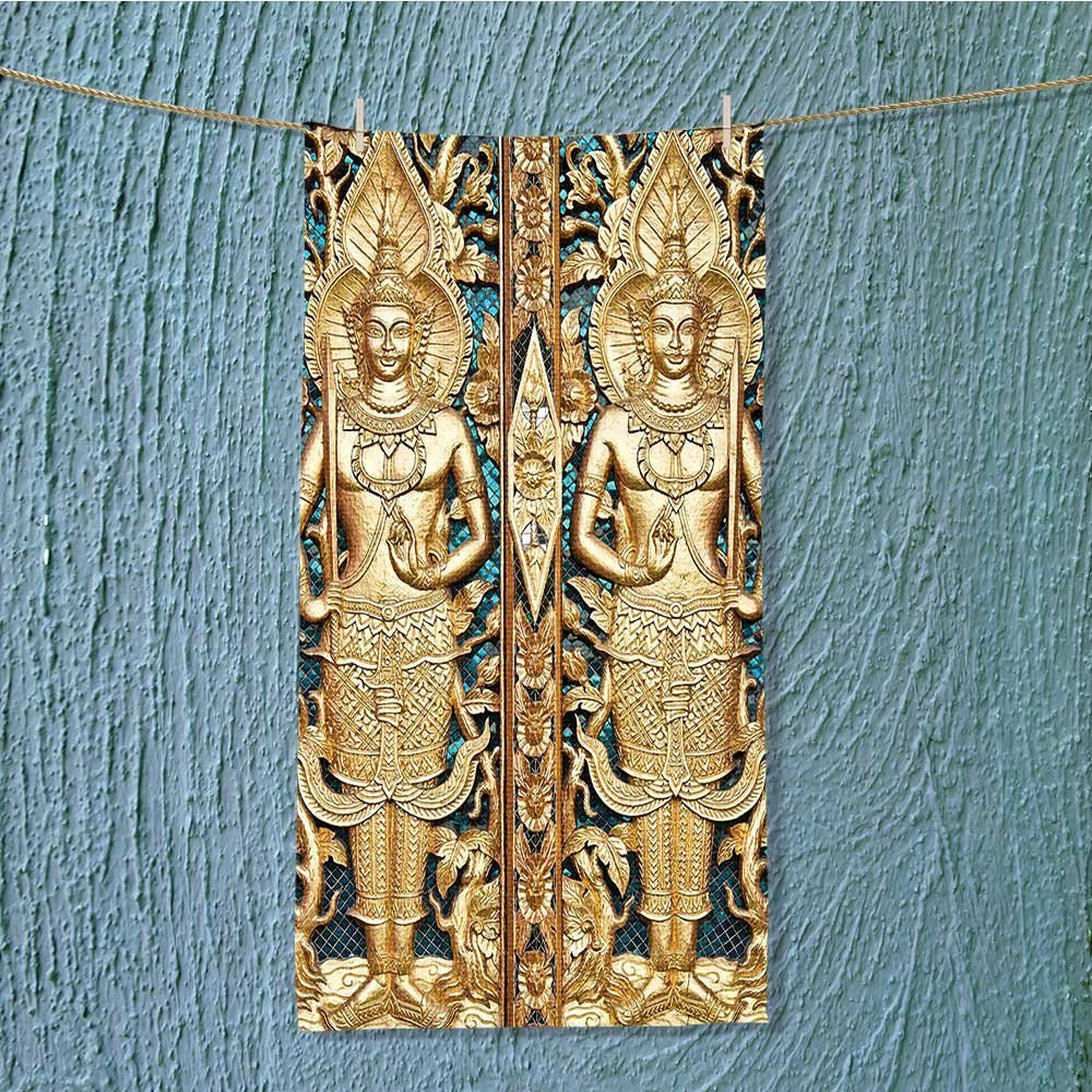 SeptSonne lightweight towel Rustic Thai Gate at Wat Sirisa Tong Thailand Buddhism History Spiritual Gen Teal for Home, Hotel and Spa W35.4 x H11.8 INCH by SeptSonne