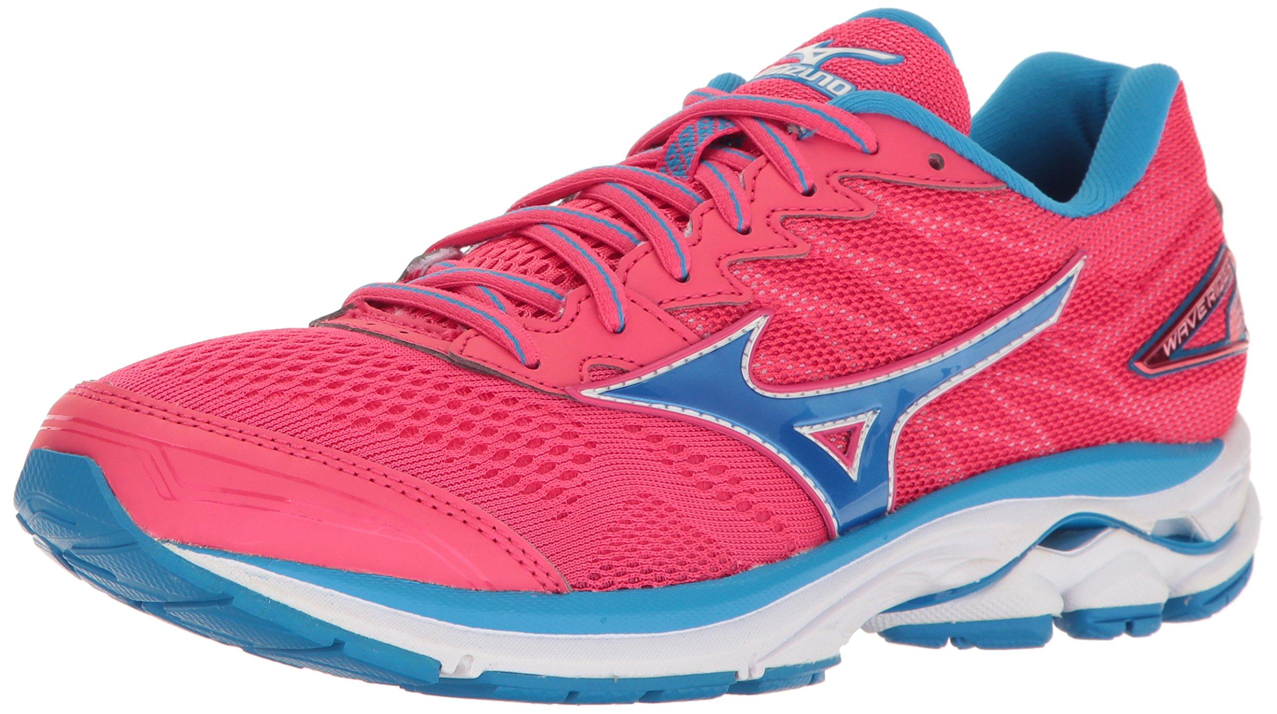 Mizuno Running Women's Wave Rider 20 Shoes, Paradise Pink/Blue Aster/White, 7.5 B US