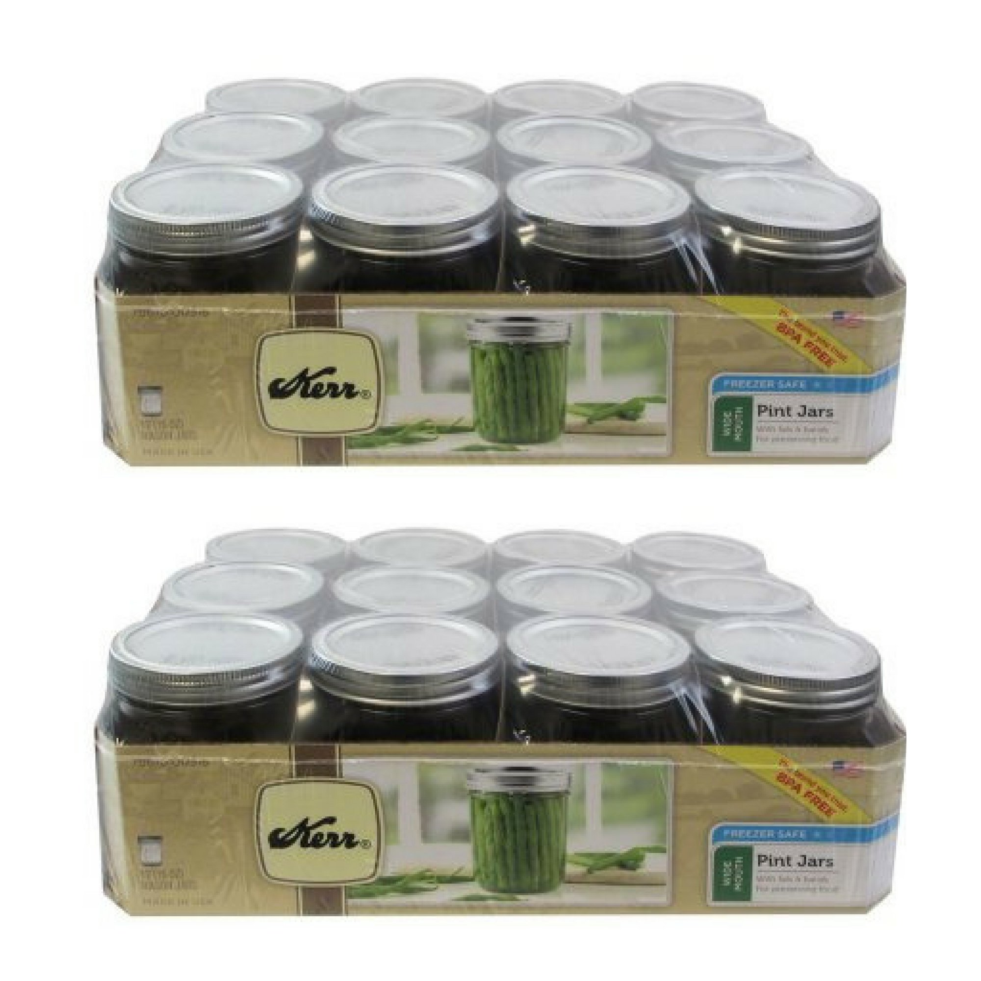 Kerr Wide Mouth Pint 16 Oz. Glass Mason Jars with Lids and Bands, 12 Count - 2 Pack