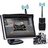 """TOGUARD Digital Wireless Backup Camera Kit, 5"""" LCD Monitor + IP69 Waterproof Rear View License Plate Reverse Camera with 8 LEDs Spuer Night Vision for Trucks/RV/Cars/SUV/Van/Pickup"""