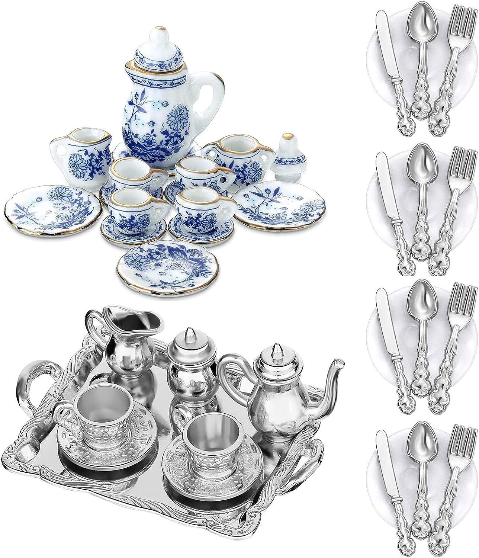 G0lden&Mang0 39Pcs Dollhouse Kitchen Set, 17 Mini Tea Cup Set, 6Pcs Alloy Dollhouse Tea Cup Set, 16Pcs Mini Doll Plates Knife Fork Spoon for Kids Gift
