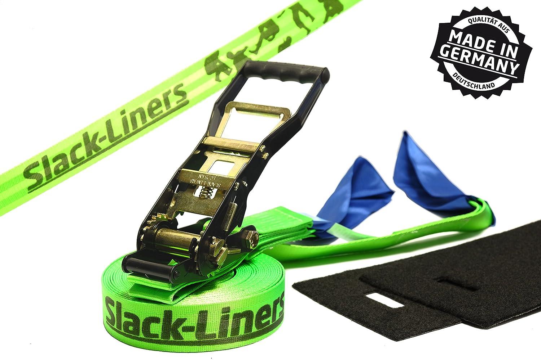 Slack-liners 4 Teiliges Slackline-Set LEUCHTGRÜN - 50mm breit, 25m lang - mit Langhebelratsche Made in Germany B005GC9XPK Slacklines Einfach