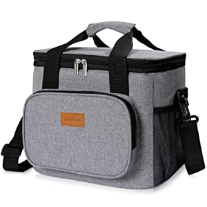 Lifewit Insulated Lunch Bag Box 15L ( 24-Can ) Soft Cooler Bag, Thermal Lunch Cooling Bag for Work Beach Picnic Camping, Grey