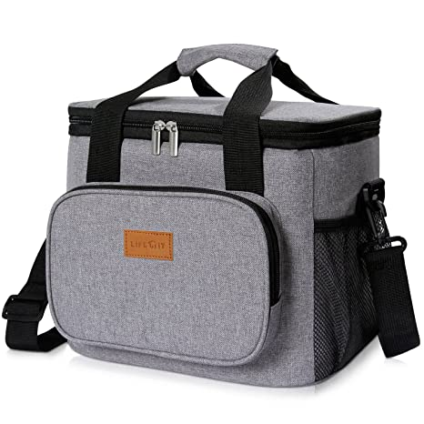 5f3d74b2a9f6 Lifewit Insulated Lunch Bag Box 15L ( 24-Can ) Soft Cooler Bag, Thermal  Lunch Cooling Bag for Work Beach Picnic Camping, Grey
