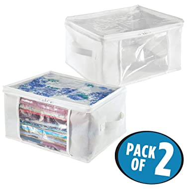 iDesign Fabric Storage Zipper Bag-Medium (Set of 2), 16  x 12  x 8 , Standard, 2 Piece