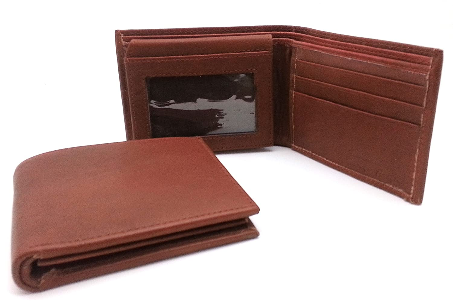 Bifold Genuine Leather Reddish Brown Plain Compact Wallet with Card Window
