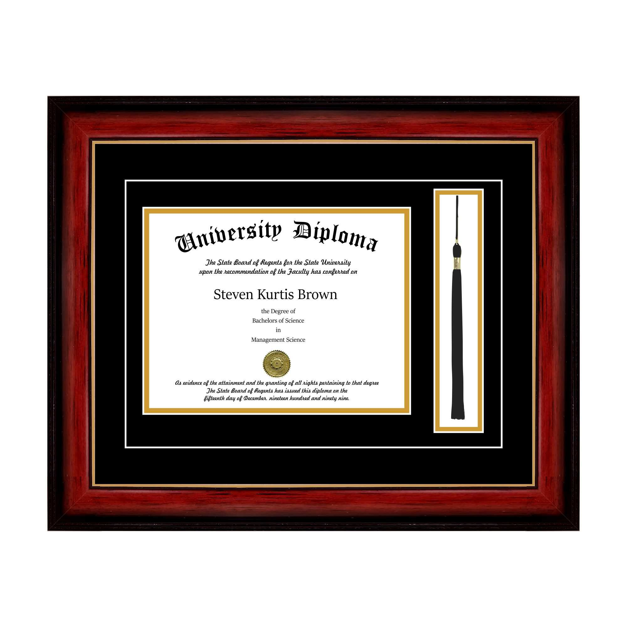 Single Diploma Frame with Tassel and Double Matting for 8.5'' x 11'' Tall Diploma with Mahogany with Gold Lip 2'' Frame