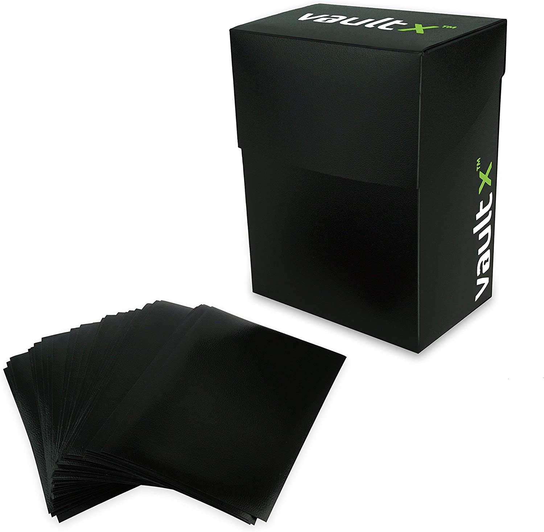 fits Magic//MTG, Pokemon Cards NA 100 Black Sleeves Ultra-Pro Black Deck Box