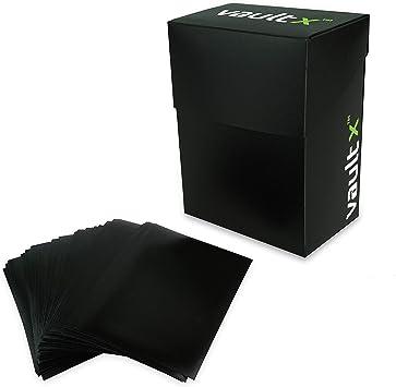 Vault X® Caja Estándar de Cartas con 100 Fundas Negras - Tamaño Estándar para 70-80 Cartas en Fundas - Porta Tarjetas Libre de PVC para TCG (Negra): Amazon.es: Juguetes y juegos