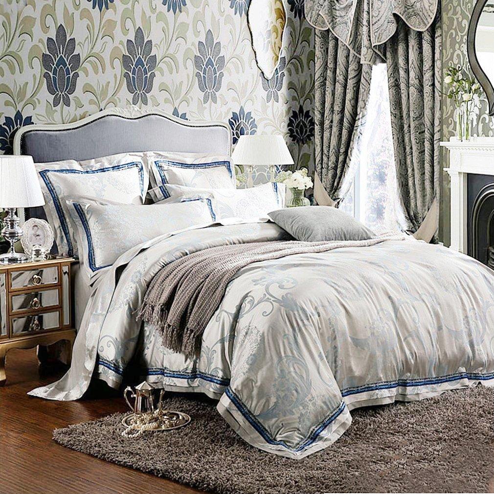 高級ジャガードのサテンの綿/クイーンキングサイズの寝具セット/グリーンシートと枕カバー掛け布団カバー B0151EOV4Aクイーン
