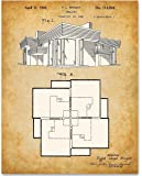 Frank Lloyd Wright Home Blueprint - 11x14 Unframed Patent Print - Great Gift for Architects