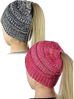 98463d30bbc C.C BeanieTail Soft Stretch Cable Knit Messy High Bun Ponytail Beanie Hat