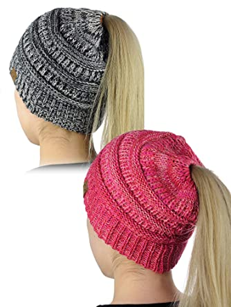 C.C BeanieTail Soft Stretch Cable Knit Messy High Bun Ponytail Beanie Hat 045056254786