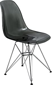 LeisureMod Carey Modern Eiffel Base Molded Dining Side Chair (Transparent Black)