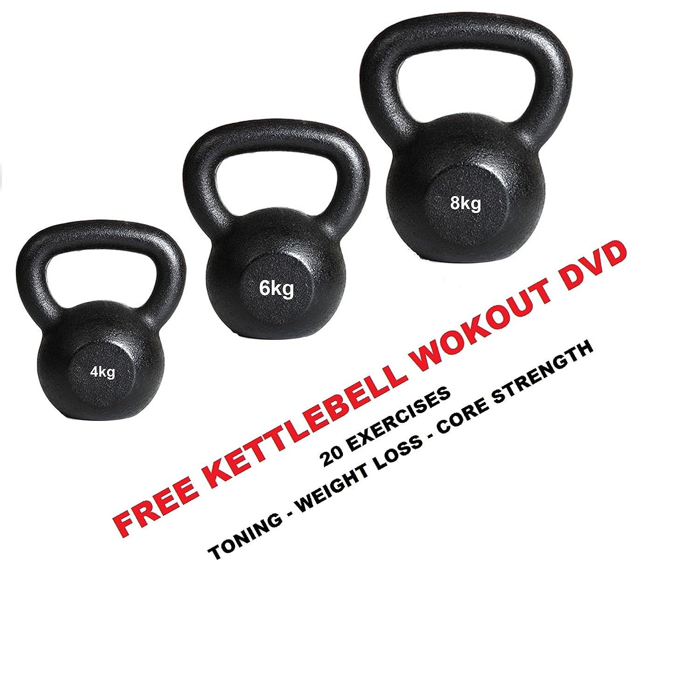 Cast Kettlebell Set 4kg-6kg-8kg Cast Kettlebell set- Set of 3 Kettelbells IQI