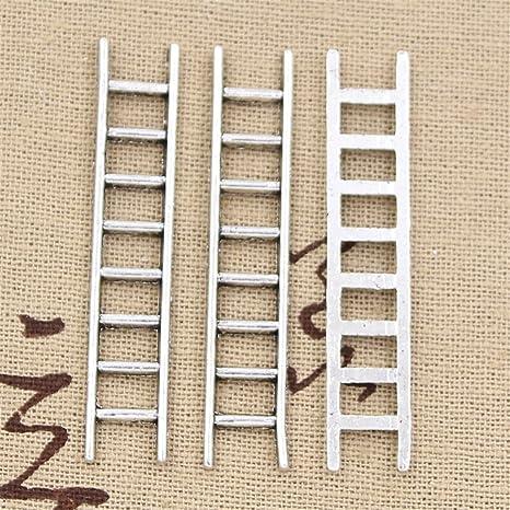 20 abalorios de escalera de 51 x 10 mm, estilo vintage, aleación de zinc, plata tibetana: Amazon.es: Juguetes y juegos