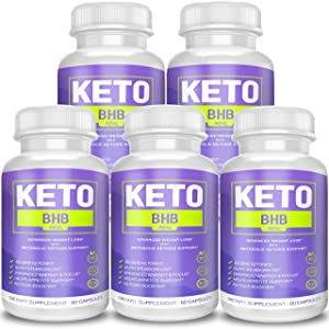 Keto BHB Real Capsules for Weight Loss, Keto BHB 800 Pills for Real Energy, Focus, Metabolism Boost - Premium Advanced Powder Exogenous Ketones for Rapid Ketosis Diet for Men Women - 5 Bottles
