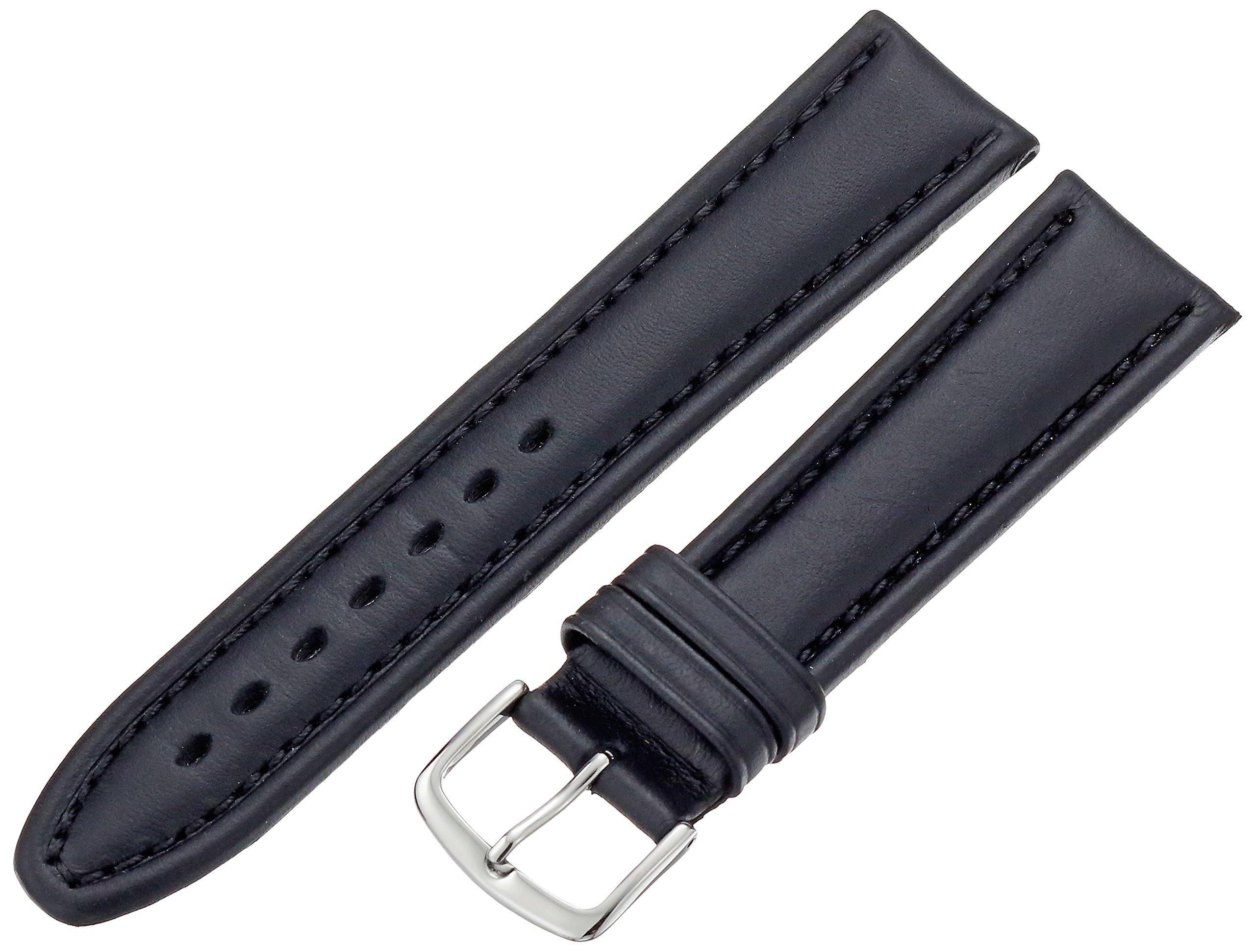 Hadley-Roma Men's MSM882RA-200 20-mm Black Genuine Oil-Tan Leather Watch Strap