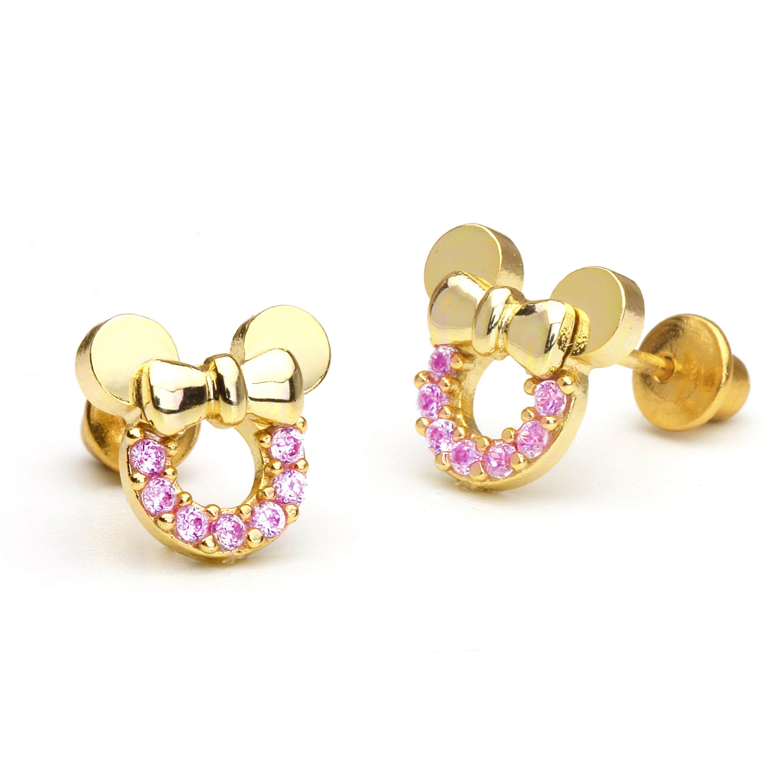 14k Gold Plated Brass Pink Mouse Cubic Zirconia Screwback Earrings with Sterling Silver Post