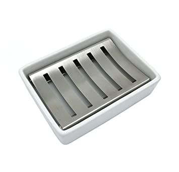 ceramic soap dish stainless steel soap holder for bathroom and shower double layer draining soap box