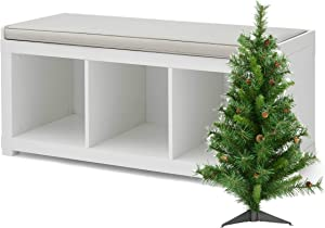 Better Homes and Gardens 3-Cube Storage Organizer Bench and X Tree Bundle, Solid White