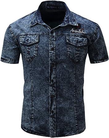 Hombres Algodón Denim Cargo Camisas Slim Fit De Manga Corta Camisa De Vestir: Amazon.es: Ropa y accesorios