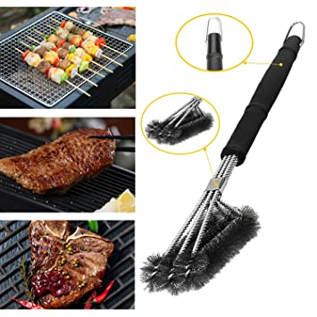 Metal barbacoa parrilla cepillo de limpieza, Heavy Duty 18 cm de largo 3 en 1