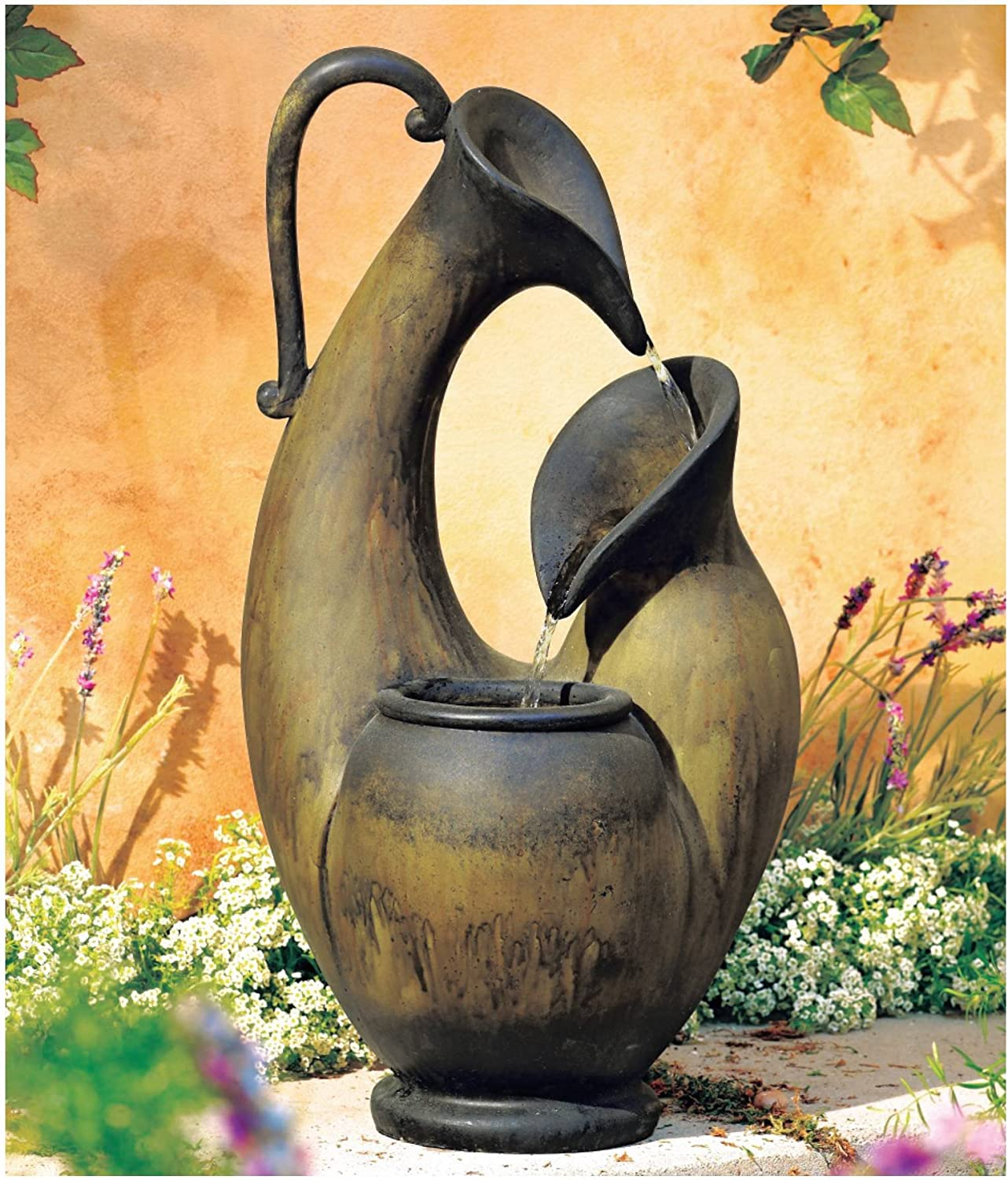 """Weathered Jug Mediterranean Table-Top Water Fountain 24"""" High Cascading for Table Desk Yard Garden Patio Deck Home Relaxation - John Timberland"""