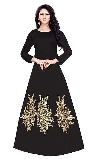 I-Brand Women s Silk Anarkali Kurta (ISUNSG35 Black Free Size)  Amazon.in   Clothing   Accessories df14ca1a12