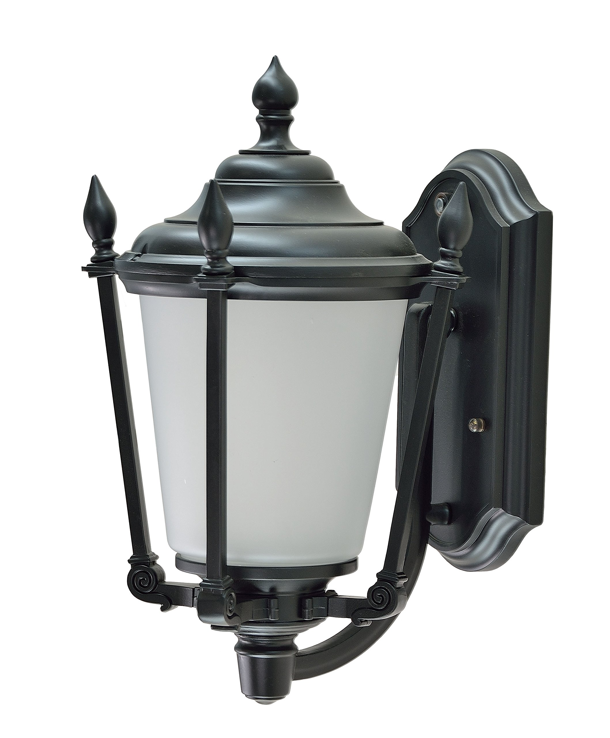 Aspen Creative 60009 1 Light Large Outdoor Wall Light Fixture with Dusk to Dawn Sensor, Transitional Design in Black, 19'' High