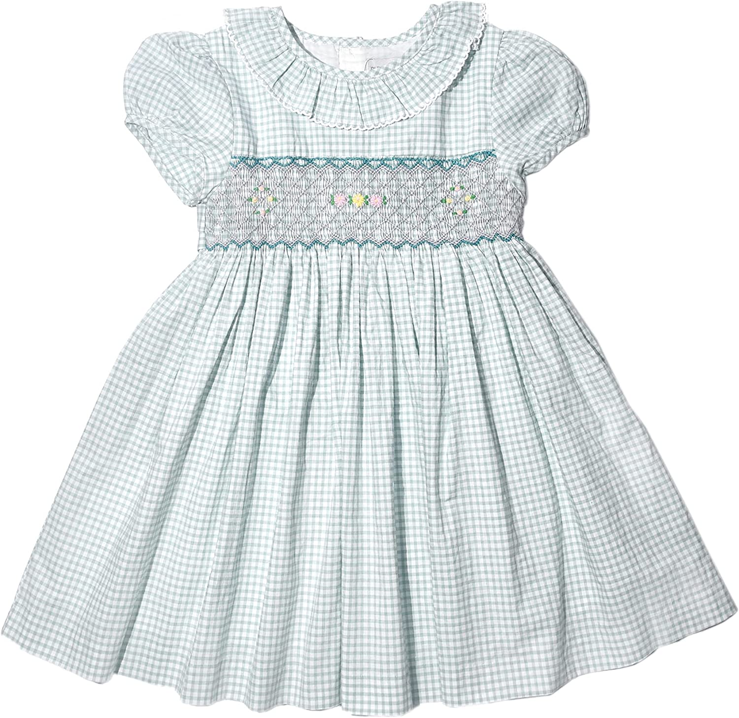 Toddler Baby Girls Soft Floral Cotton Princess Hand Smocked Dress Frilly Sleeve Ruffle Swing Tunic Shirt Casual Party Dress