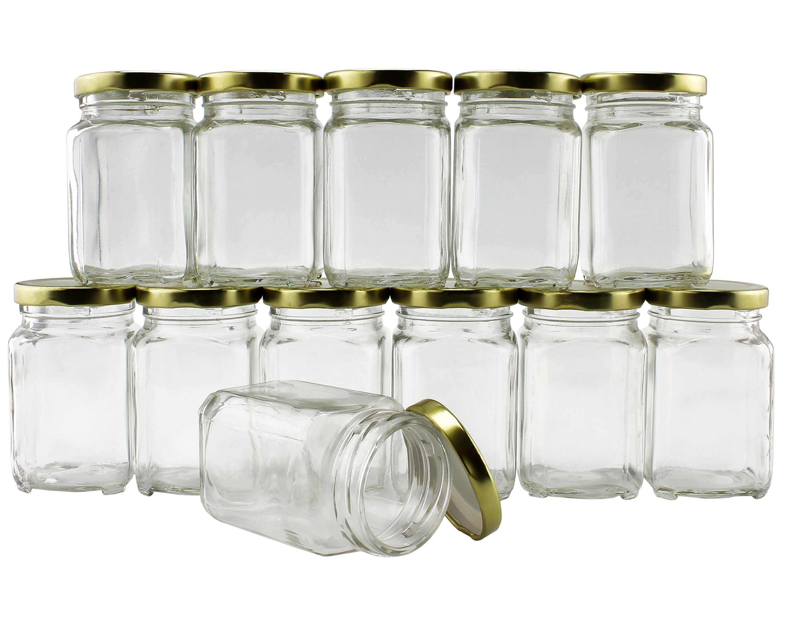 6-Ounce Square Victorian Jars (12-Pack), Bulk Value Pack of Steampunk Square Glass Jars with Screw-On Lids, Ideal for Spice Storage, Wedding and Party Favors, DIY Projects & More! (Set of 12)