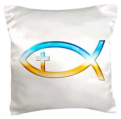 Buy 3drose Pc417631 Chrome Christian Fish Symbol With Cross Pillow