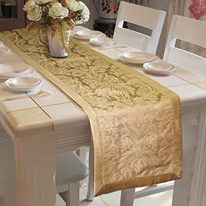 Lushomes Gold Pattern 3 Jacquard Table Runner With Polyester Border (Size: 16