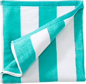 Great Bay Home Oversized Plush Velour 100% Cotton Beach Towel. Cabana Stripe Pool Towel for Adults. (Teal, 40