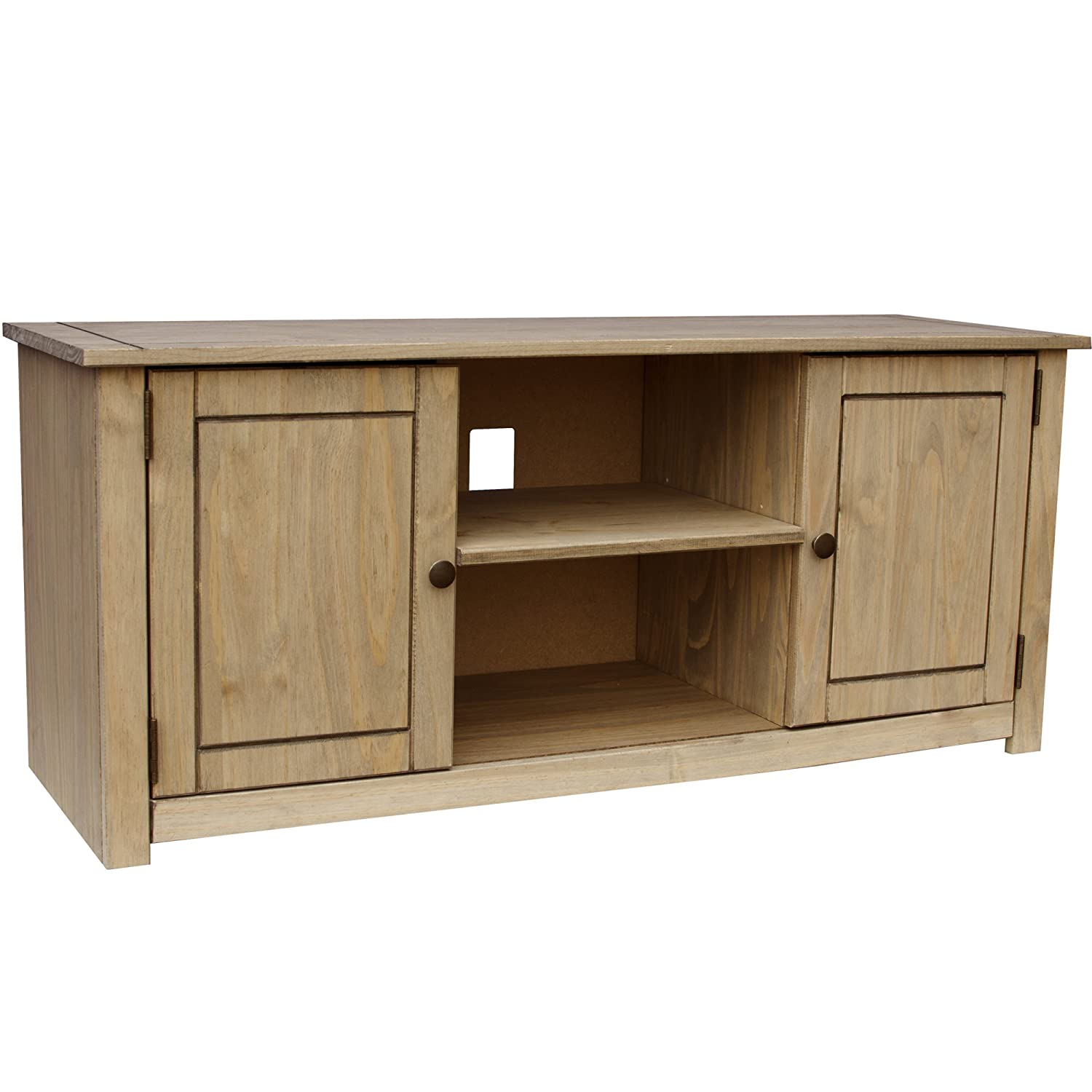 Wooden solid pine flat screen tv unit entertainment for Flat furniture