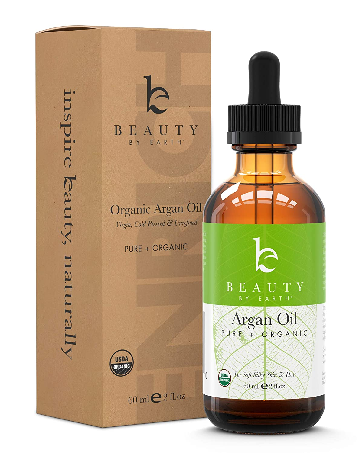 Argan Oil - USDA Organic Moroccan Oils for Face, Hair and Skin, Best Anti-Aging Ingredient for DIY Skincare and Hair Care Products, Safe for All Skin Types, 2 oz Beauty By Earth