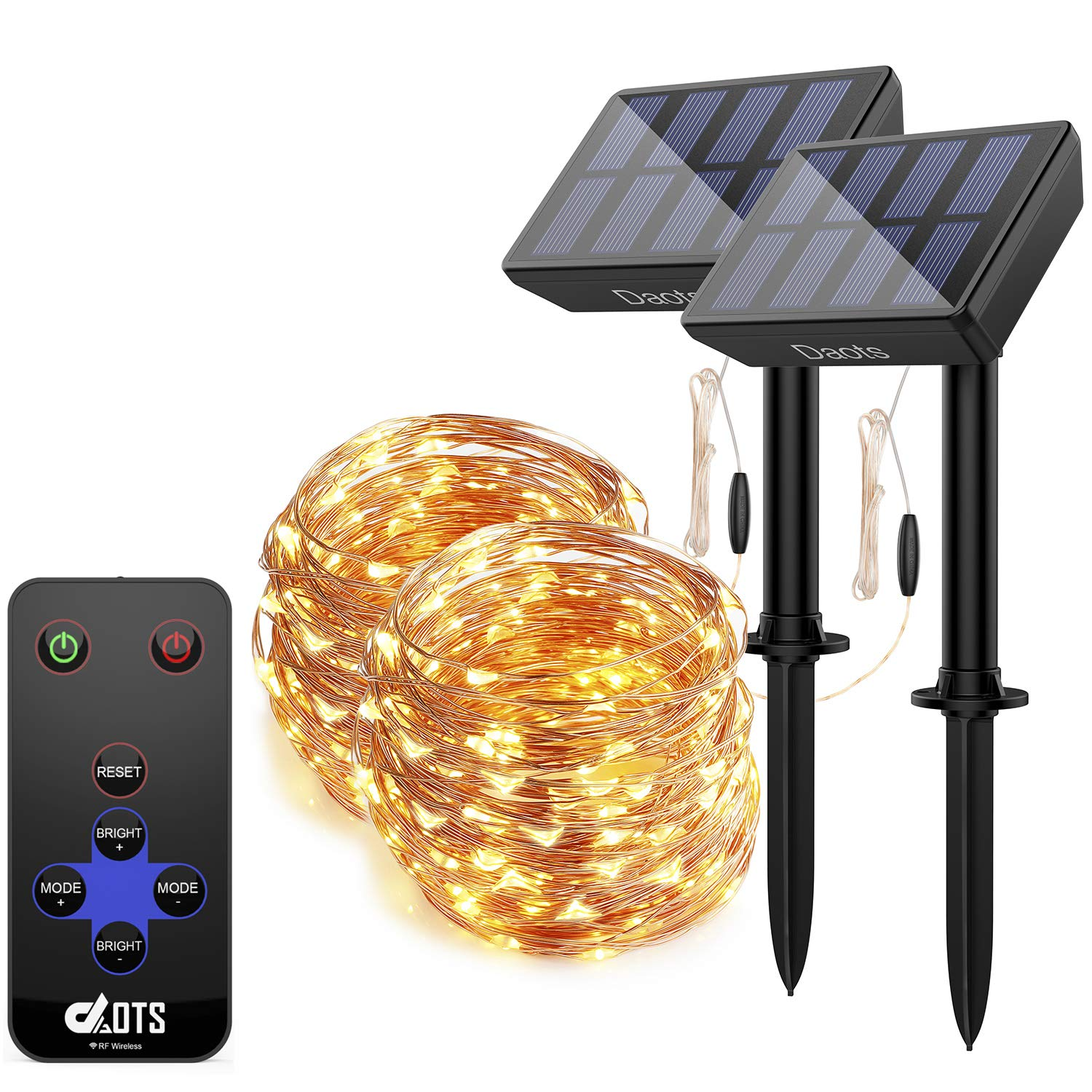 DAOTS Solar String Lights Outdoor Waterproof 100 LEDs Fairy Christmas Lights, Decorative Copper Wire String Lights Solar Powered with Remote 8 Modes for Garden Patio Tree (Warm White, 33ft) (2 Pack)