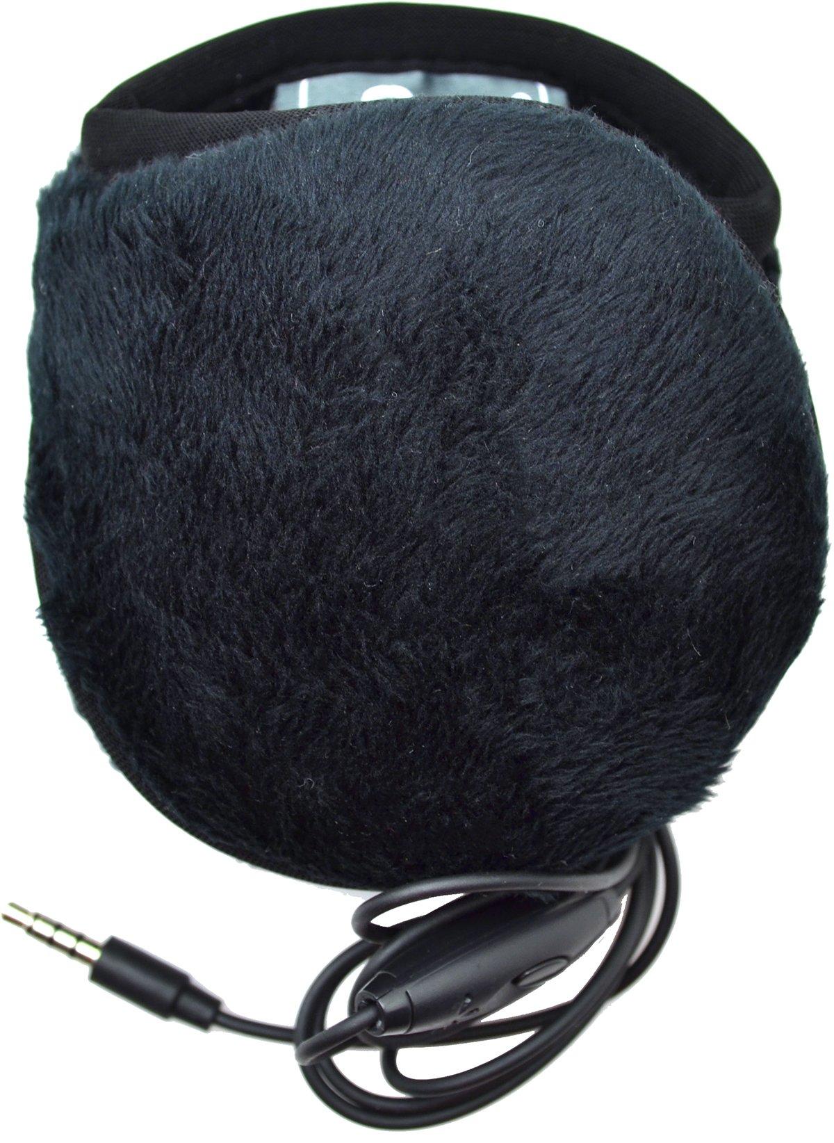 180s Women's Ear Warmers with Quantum Sound - Lush Fleece Black