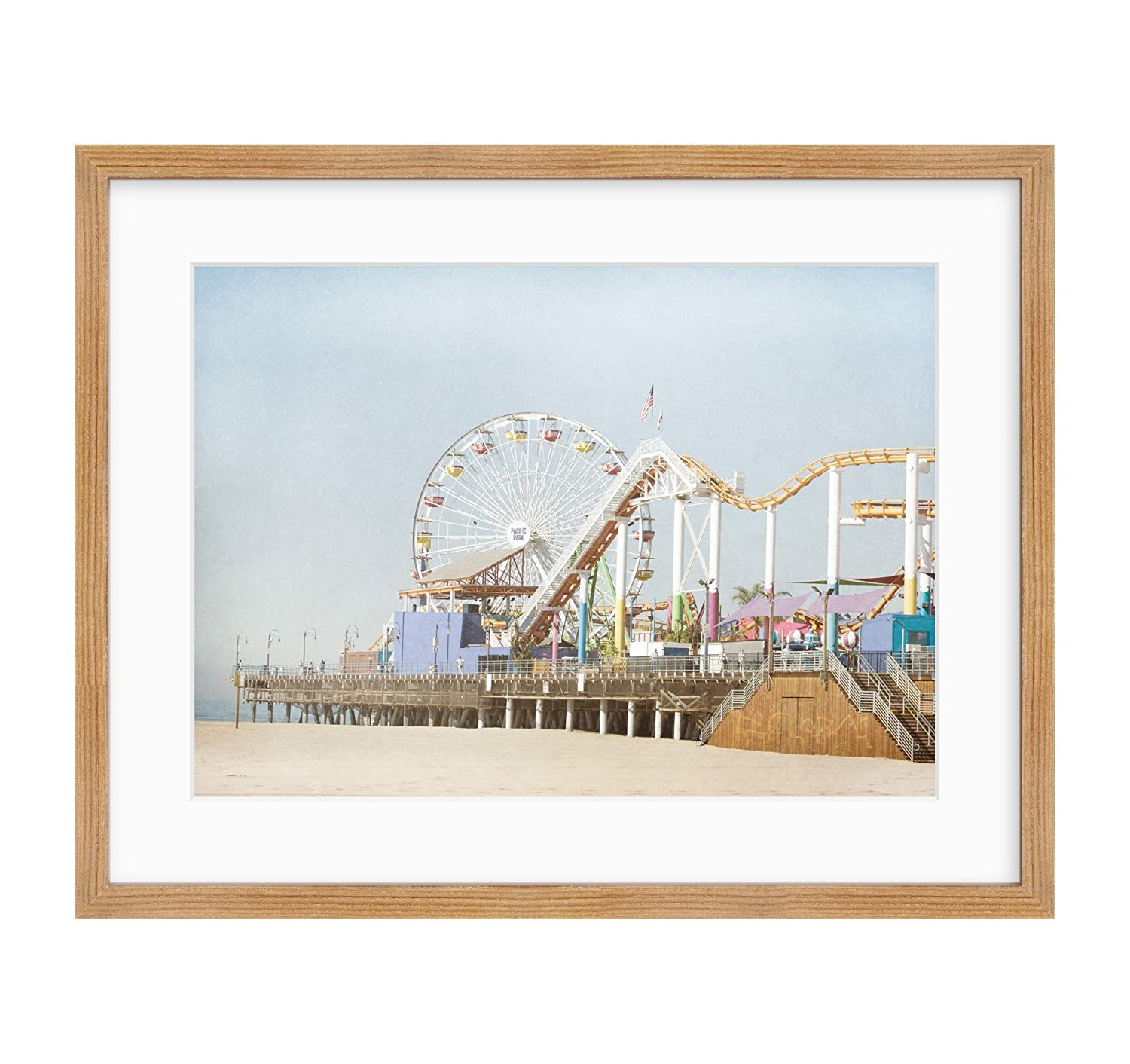 Framed Photographic Print, Santa Monica Wall Art, California Coastal Beach Landscape Decor, Santa Monica Pier' Santa Monica Pier'