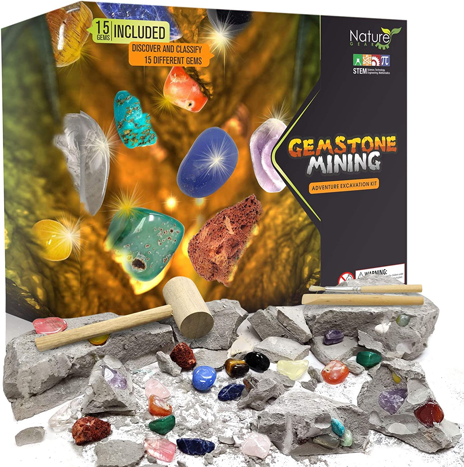 Nature Gear Gemstone Mining Excavation - Discover 15 Precious Gems - Mining Adventure Kit - Science STEM Learning Kids Activity