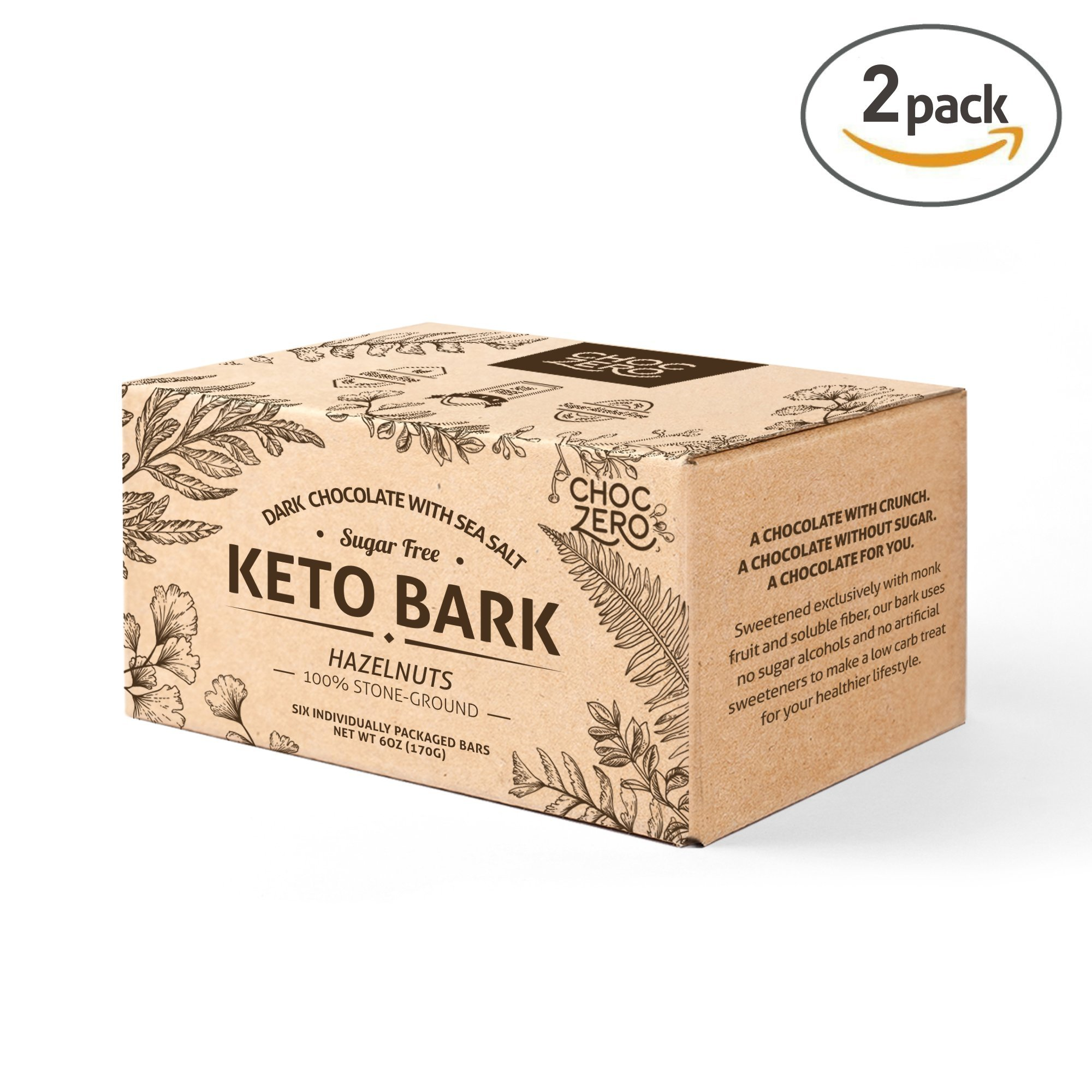 ChocZero's Keto Bark, Dark Chocolate Hazelnuts with Sea Salt. 100% Stone-Ground, Sugar Free, Low Carb. No Sugar Alcohols, No Artificial Sweeteners, All Natural, Non-GMO (2 boxes, 6 bars/each)