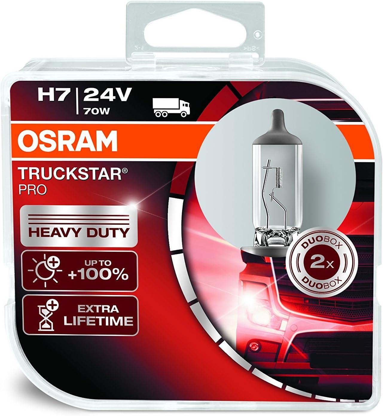 OSRAM TRUCKSTAR PRO H7, lámpara para faros halógena, 64215TSP-HCB, vehículo industrial de 24 V, caja doble (2 unidades)