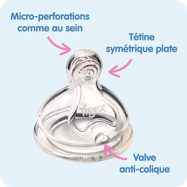 sans BPA Tigex Multiflow biberon avec poign/ées amovibles et capuchon antifuite Filles /à partir de 6/mois 360/ml rose et jaune