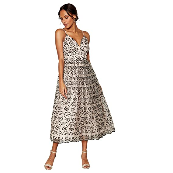 Debut Womens Natural Madeline Mesh Embroidered Prom Dress 14