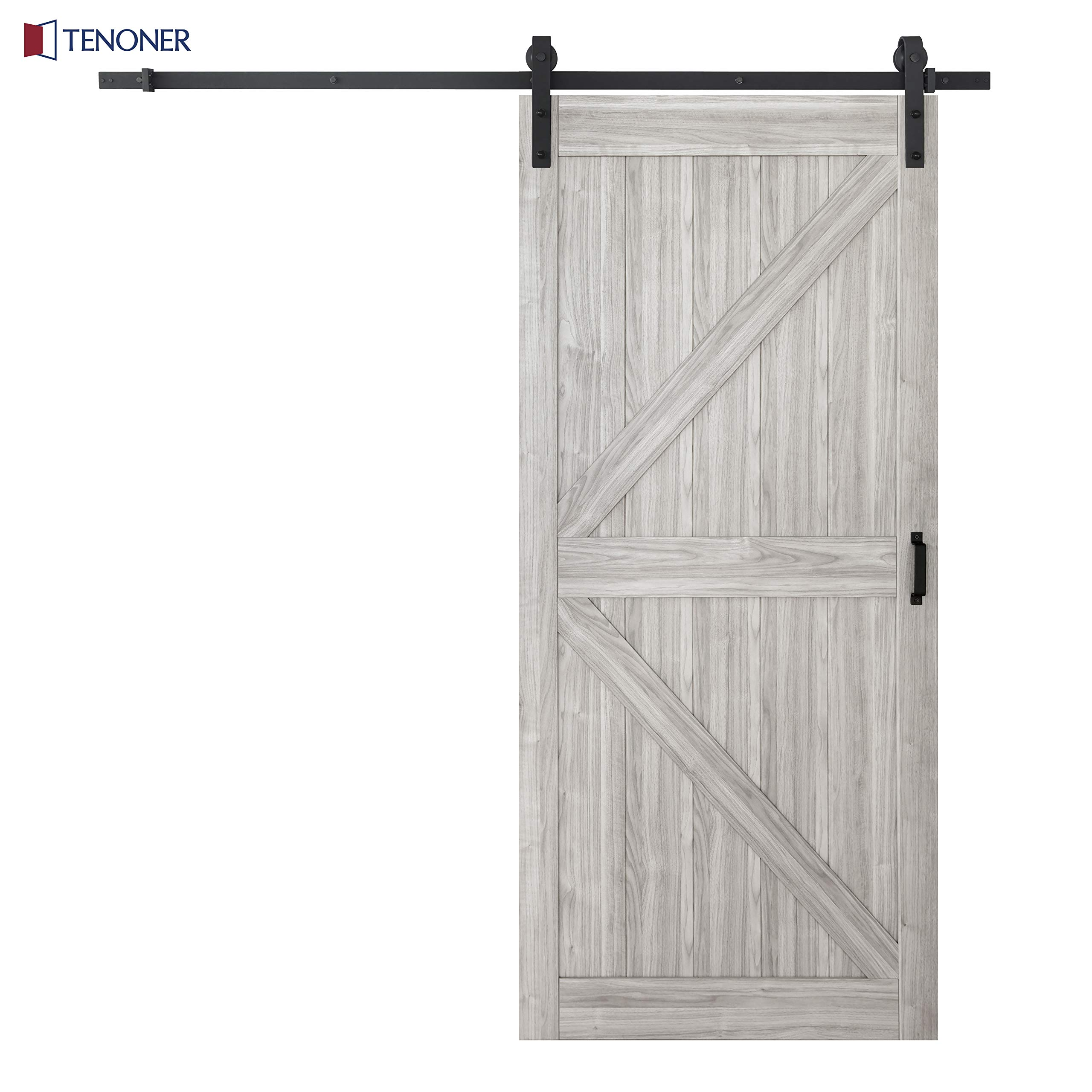 TENONER 36in x 84in Grey K-Frame Sliding Barn Door, 6.6ft Barn Door Hardware Kit & Handle Included