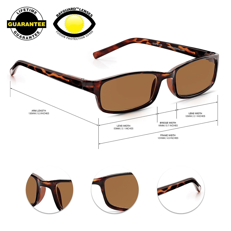 9c9a59c766 Read Optics Ready Reader Sunglasses for Reading  Ladies Gents Non  Prescription Spectacles with Premium RayguardTM Tinted Anti-Glare