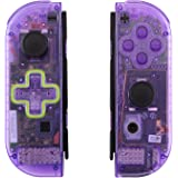 eXtremeRate Clear Atomic Purple Joycon Handheld Controller Housing (D-Pad Version) with Full Set Buttons, DIY…