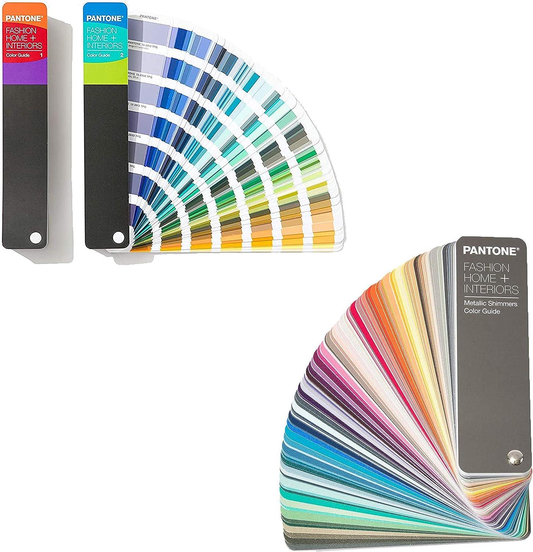 Pantone FHIP110A Fan Guide, Multicolor and Pantone FHIP310N Metallic Shimmers Color Guide Bundle