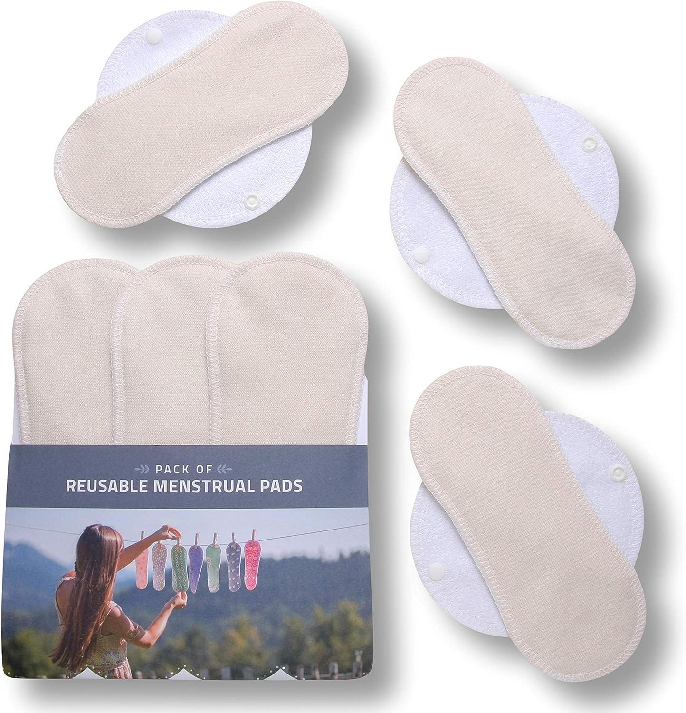 Compresas de tela reutilizables, pack de 6 compresas ecologicas de algodón orgánico con alas (de tamaños S+M) HECHAS EN LA UE, para menstruación, ...